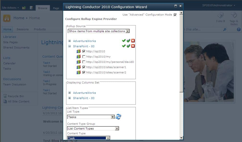 Lightning Conductor Web Part configuration wizard