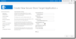 Enter Secure Store Target Application settings