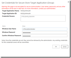 Enter MS SQL username and password for impersonation