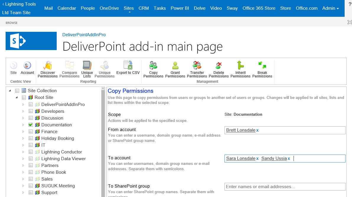 DeliverPoint Add-In Pro Copy Permissions