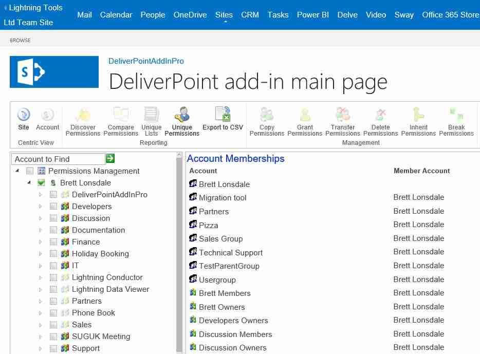 DeliverPoint Add-In Pro Unique Permissions