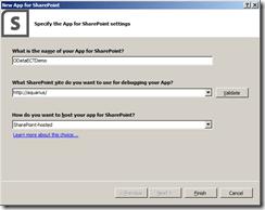 Specify the app's settings - BCS 2013