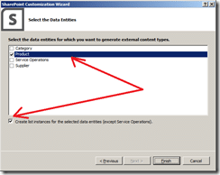 Select the data entities for which you want to generate External Content Types BCS 2013
