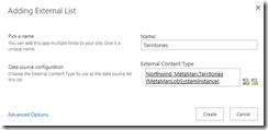 Create External Content Type