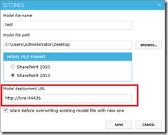 Set BDC model deployment URL