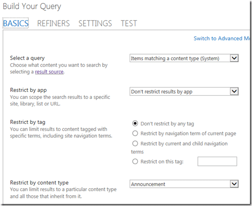 Content Search Web Part query settings