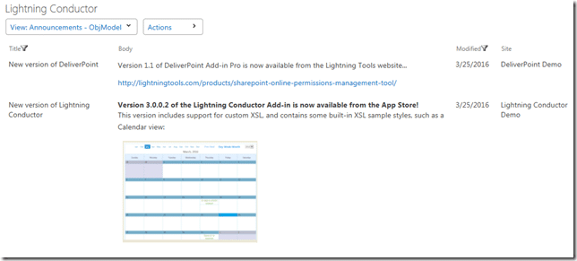SharePoint rollup announcements - Lightning Conductor Add-in SharePoint Announcements rollup