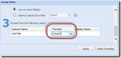 Set Aggregate Functions in the SharePoint Chart