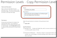SharePoint 2016 Permissions Guide - Name and Description of Custom Permission Level