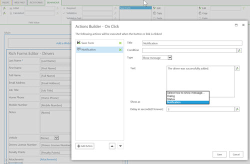 SharePoint Forms Add Actions