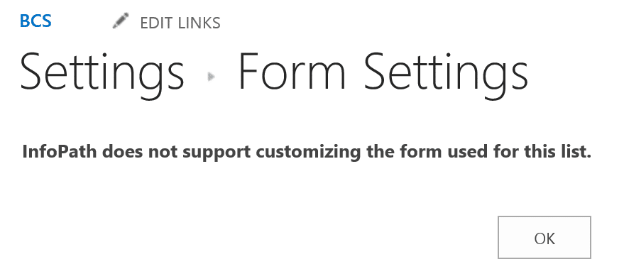 Business Connectivity Services External List Validation Form Settings