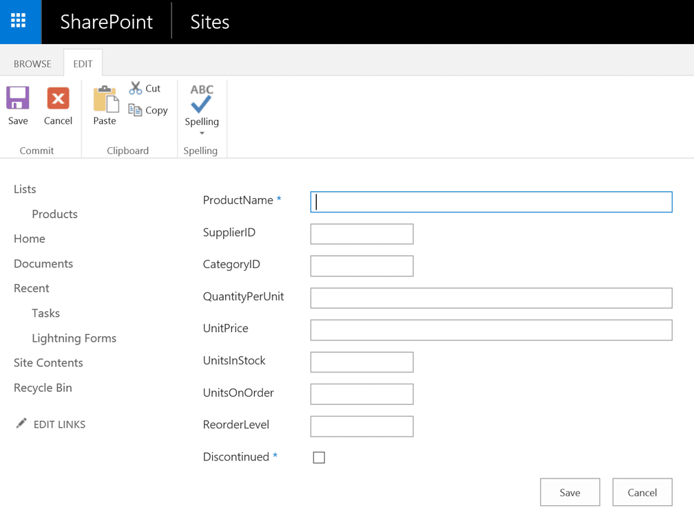 Standard Form Business Connectivity Services External List Validation