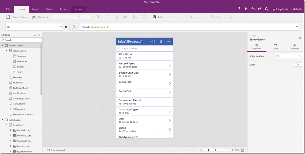 PowerApps Browse Screen