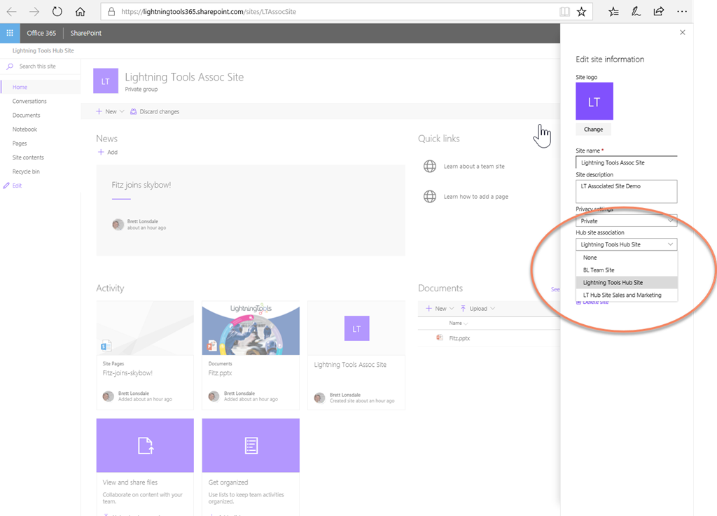 SharePoint Hub Sites in Office 365 SharePoint Online